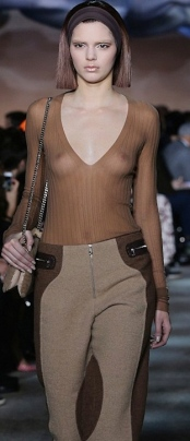 18 year old Kendall Jenner showing nipples in see-through top during New York Fashion Week