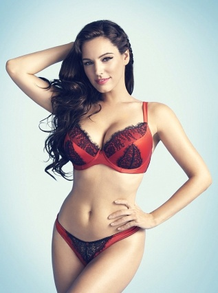 Kelly Brook shows her big boobs in red lingerie. New Look Valentine's Day collection.