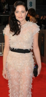 Lara Pulver in see-through dress that shows knickers and bra at 2014 BAFTAs