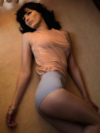Mad Men's Jessica Pare in 50s lingerie shot wearing big knickers and see-through silk top. Megan Draper. GQ magazine 2014