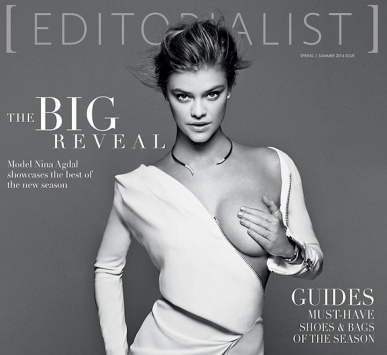 Model Nina Agdal holds naked left breast on Editorial magazine cover
