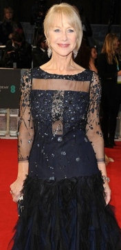 Sexy older woman Helen Mirren shows bra in partly see-through dress at 2014 BAFTAs