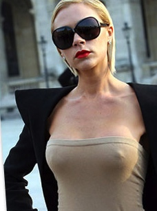 Victoria Beckham very stiff nipples showing through top