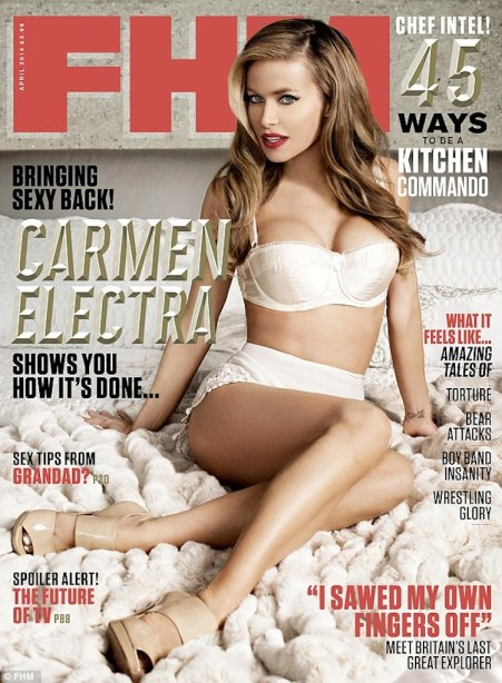 Carmen Electra in lingerie on cover of FHM. Oldest cover girl at 41.