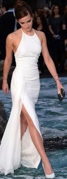 Emma Watson at Noah premiere showing off figure in thigh-high split Ralph Lauren silk dress