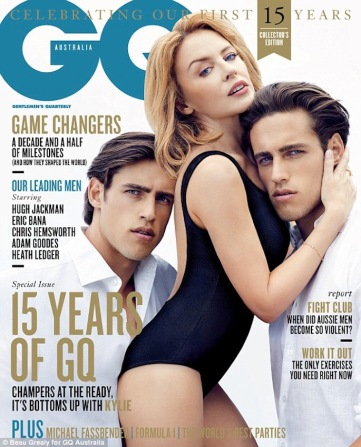 Kylie with Stenmark twins on GQ Australia cover March 2014