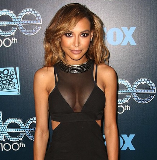 Naya Rivera with bigger boobs showing cleavage in see-through black sectioned dress