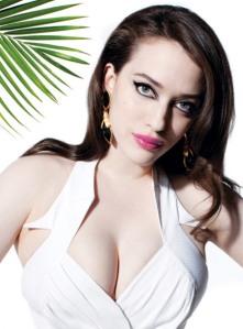 2 Broke Girls Kat Dennings shows mega cleavage in low cut white dress