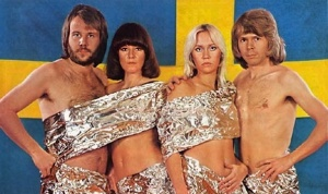 ABBA all nude but covered with tinfoil