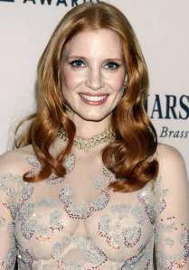 Jessica Chastain in see-through dress
