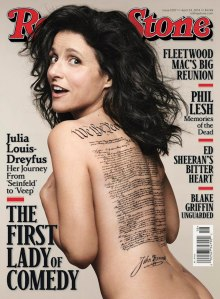 Julia Louis-Dreyfus nude photo for cover of Rolling Stone. Wrong details of US Constitution signatures