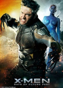 Official X Men- Days of Future Past movie poster. Featuring Hugh Jackman as Wolverine showing his bone and adamantium claws and Jennifer Lawrence in her skintight blue outfit
