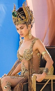 Elodie Yung in gold plated bra playing Greek Goddess Hathor in Gods of Egypt