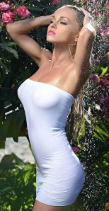 Ola Jordan breasts show through wet dress under waterfall - 2014 Calendar