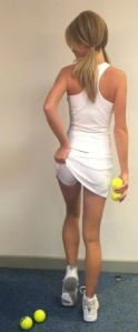 Amanda Holden shows knickers in tennis skirt in Athena Tennis Girl pose