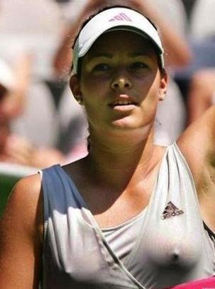 Women tennis players nip slip sorry, not
