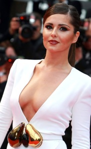 Cheryl Cole shows boobs in open front white dress