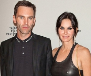 Courteney Cox in sexy leather top with fiance Johnny McDaid