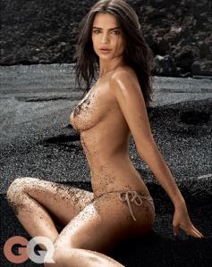 Emily Ratajkowski naked topless on beach in GQ
