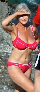 Hot Older Women in Bikinis - 63-year old Helen Mirren showing hot boobs and body in red bikini