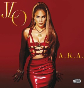 J-Lo red leather and pvc bondage outfit on AKA cover
