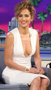 Jennifer Lopez shows lots of cleavage in white plunge neckline dress on Tonight Show