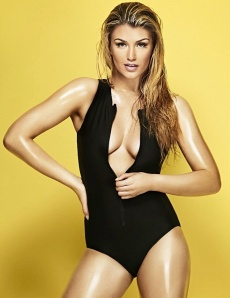 Amy Willerton in open front swimsuit showing her boobs - FHM 2014