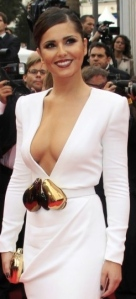 Cheryl Cole shows her breasts in open front white dress