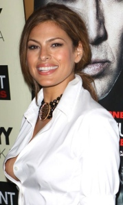 Eva Mendes nipple oops in red carpet wardrobe malfuction