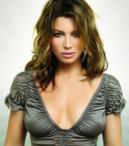 Jessica Biel sexy look with boobs showing through flimsy top