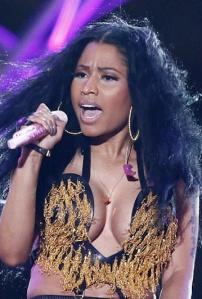 Nicki Minaj - great firm cleavage from black singer