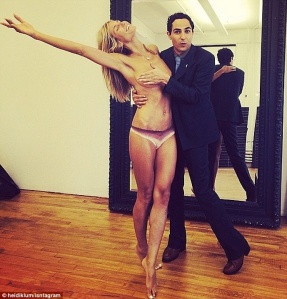 Heid Klum topless with Zac Posen's hands grabbing her boobs