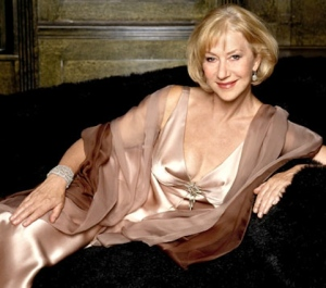Helen Mirren sexy older woman showing cleavage in silk gown