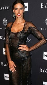 Brazilian Victoria's Secret model Alessandra Ambrosio shows her boobs and knickers under see-through dress at Harper's Icon party.
