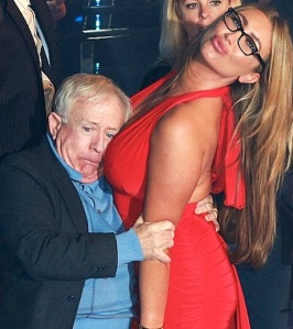 Death by cleavage - actor Leslie Jordan buries his face in busty Lauren Goodger's boobs on Celebrity Big Brother