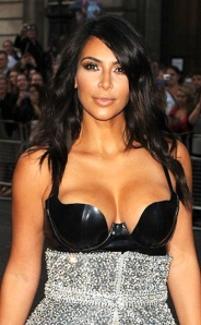 Kim Kardashian in leather bustier