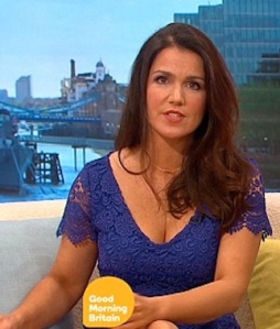 Susanna Reid flashes her boobs in low cut blue lace dress from ASDA on ITV breakfast show