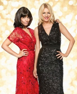 Tess Daly and Claudia Winkleman in glamorous evening dresses