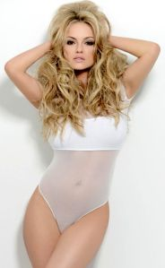 Hot looking Strictly dancer Ola Jordan in see-through white outfit for 2015 Calendar photo