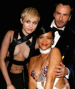 Rihanna, Miley Cyrus and Tom Ford at amFAR - Miley nip slip